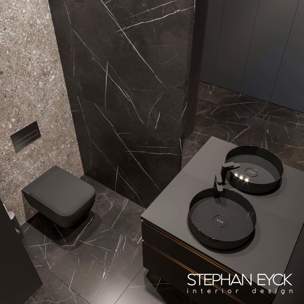 baie moderna cu lavoar negru