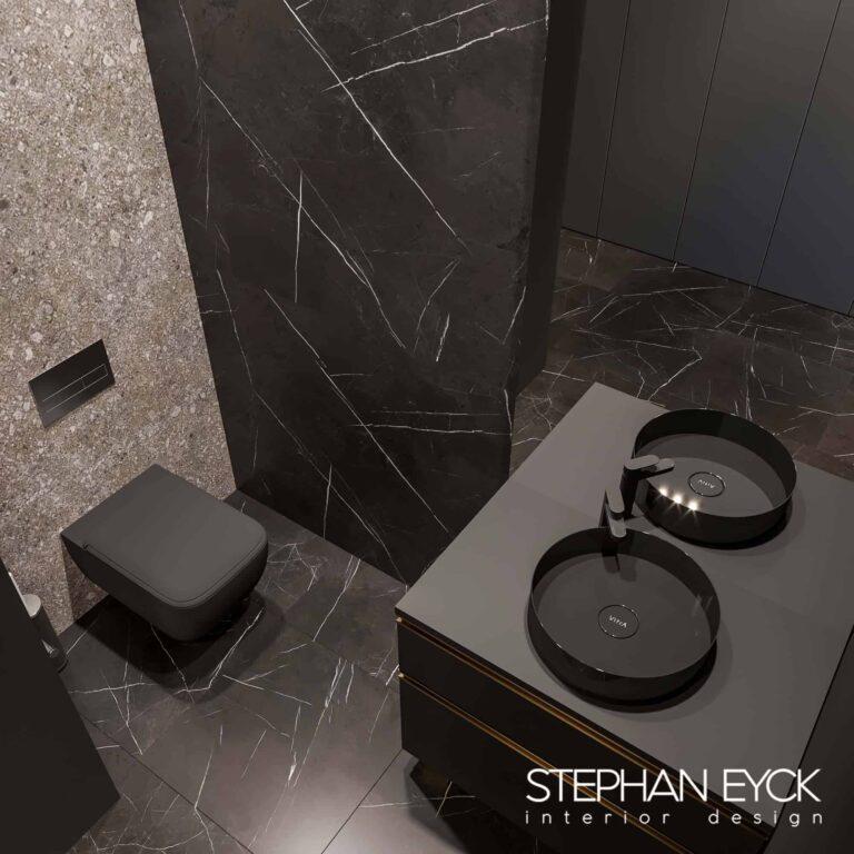 design baie moderna cu lavoar negru