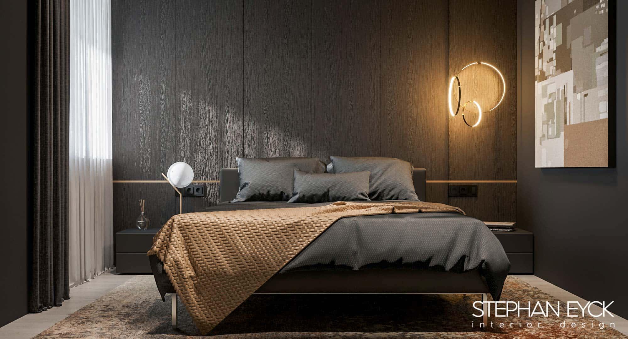 dormitor modern cu lemn negru
