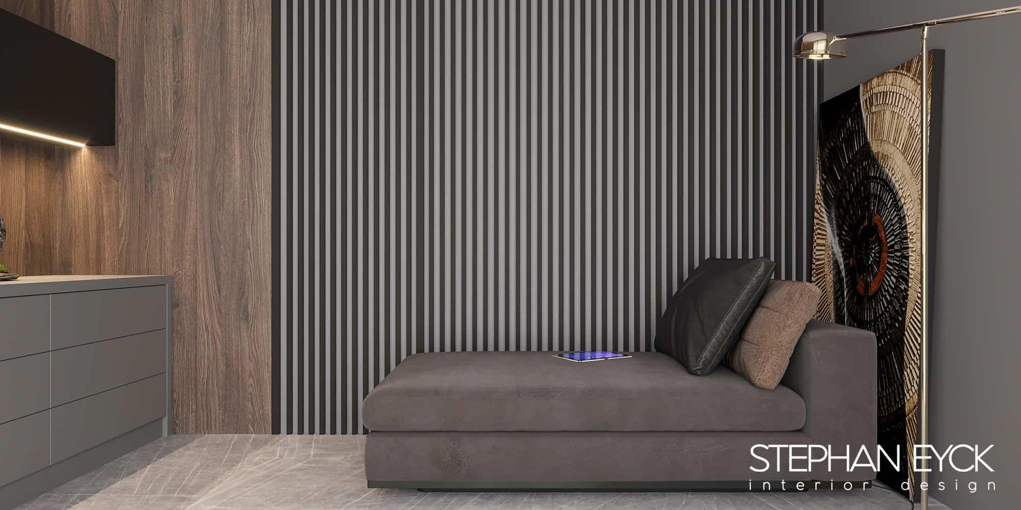 interior cu canapea in camera studiu