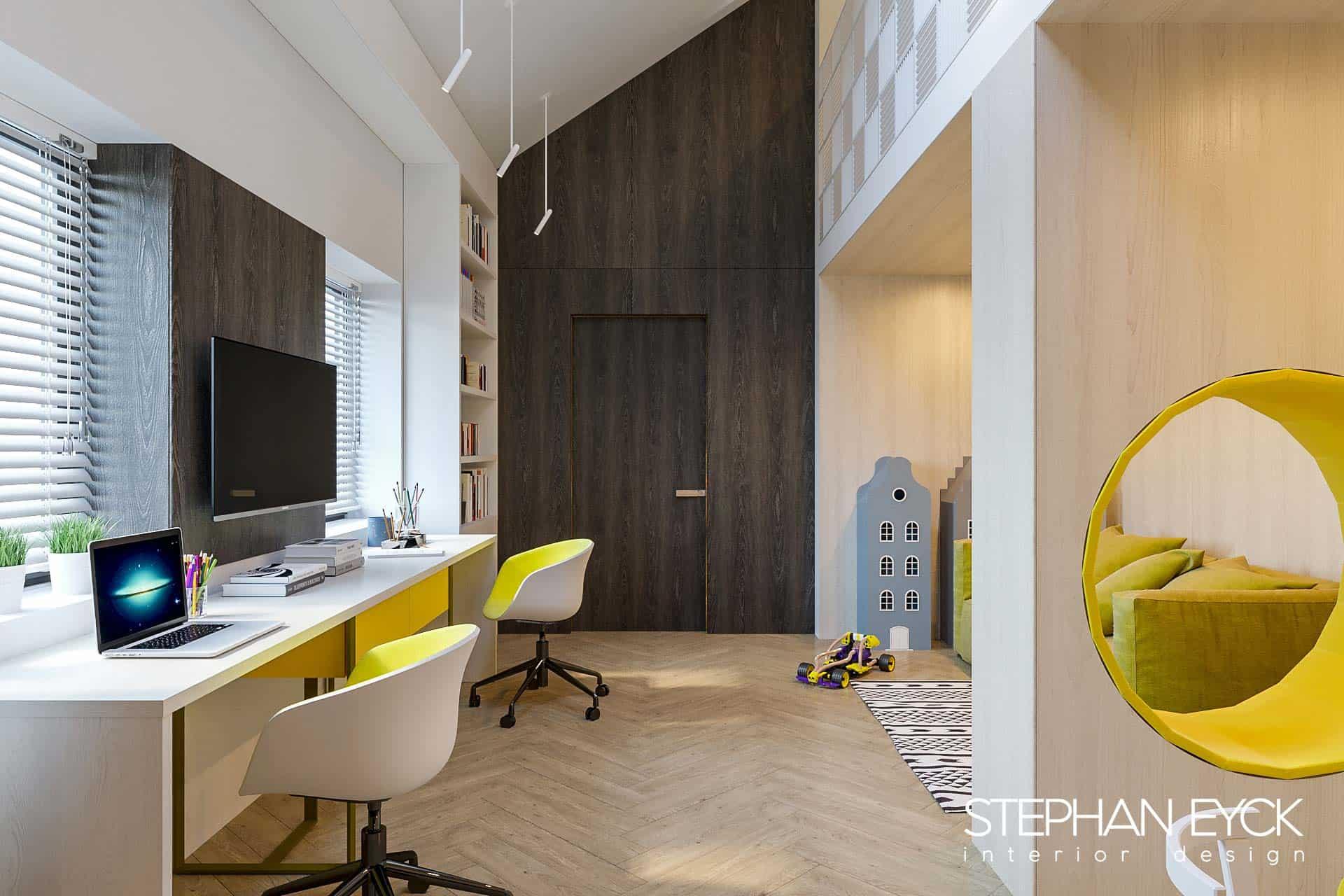 interior camera de joaca cu birou