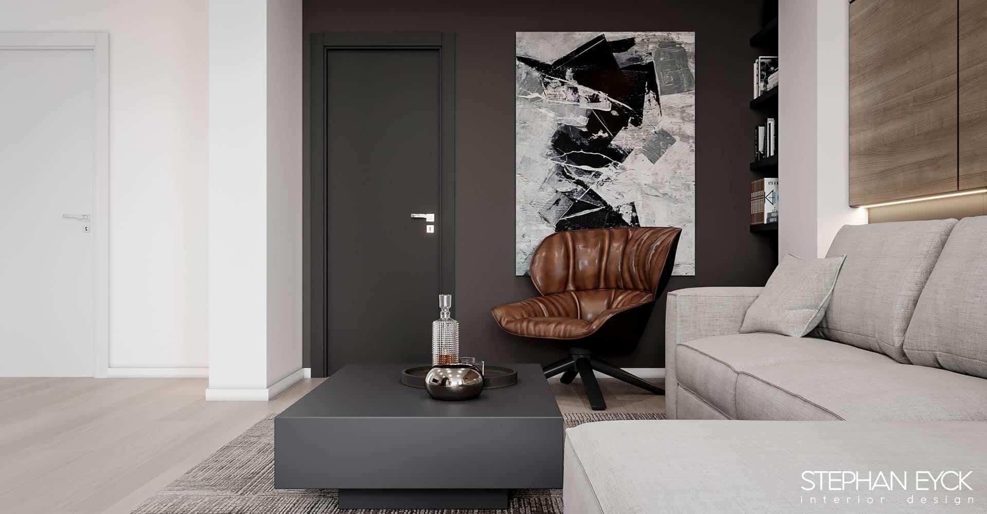 design livingroom cu scaun modern