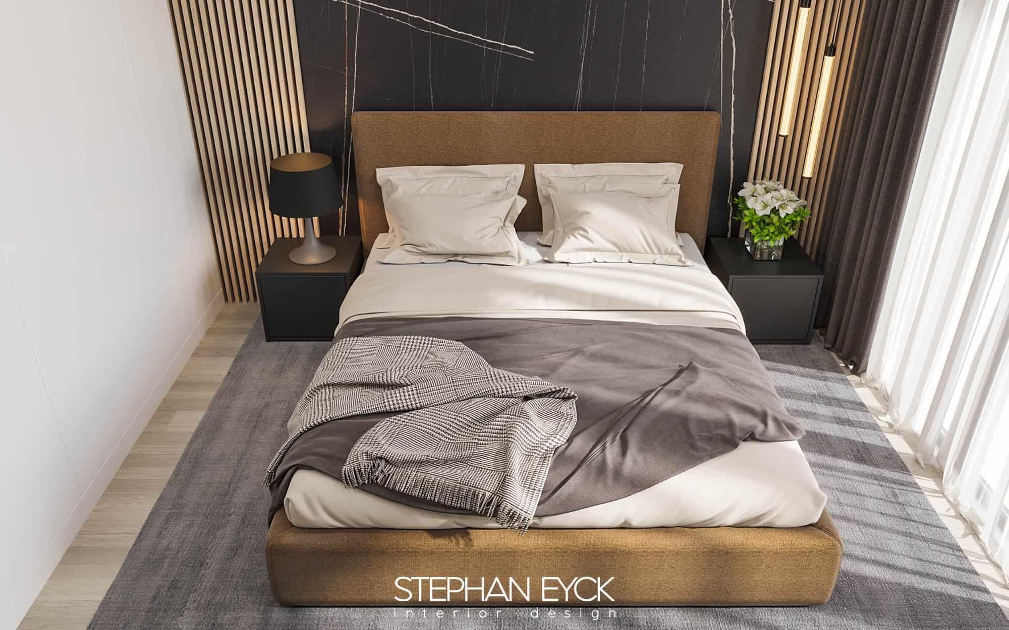 design dormitor elegant cu pat tapisat
